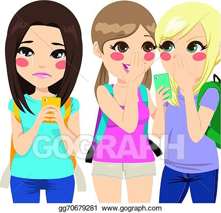 Eps illustration girl crying. Bully clipart friends