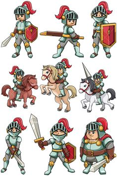 Gladiators collection vector cartoon. Bully clipart medieval