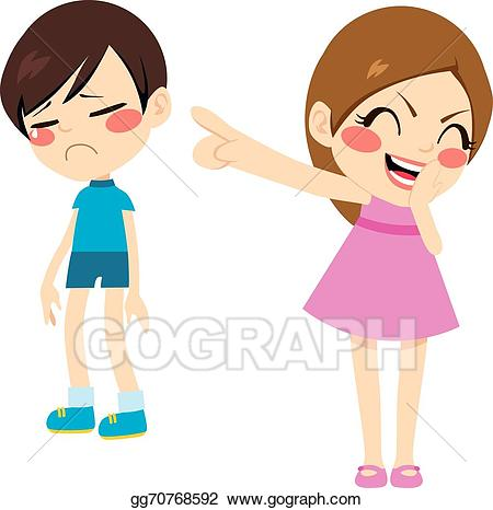 Bad clipart bully. Vector girl bullying boy
