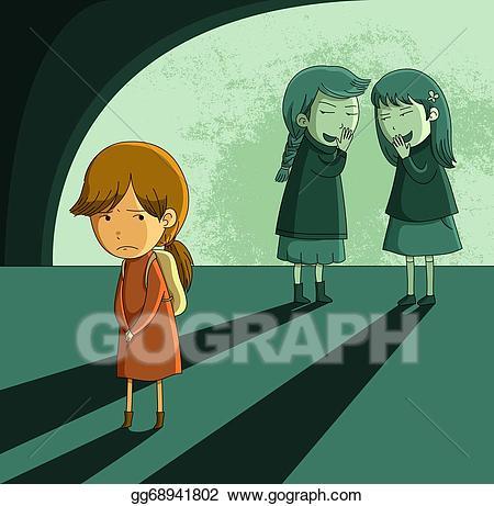 Bully clipart outcast. Eps vector girl stock
