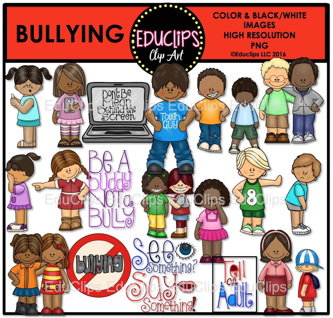 Bullying clipart physical contact. Clip art bundle color
