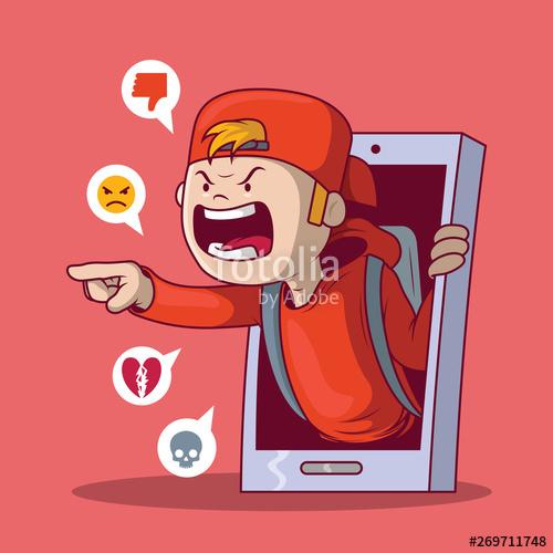 Bully clipart social bullying. Kid concept illustration technology