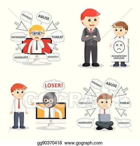 Vector businessman bullying set. Bully clipart threat