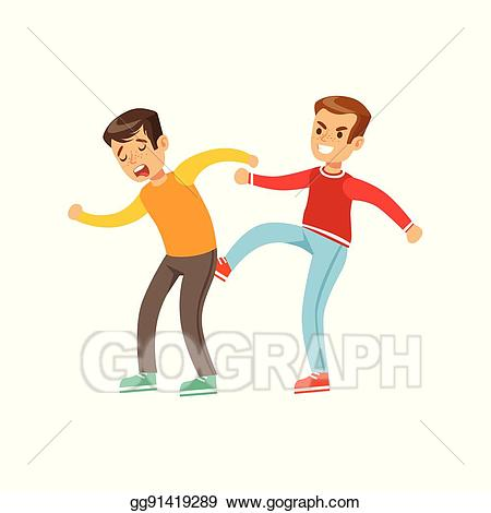 Vector boys fist fight. Bully clipart two