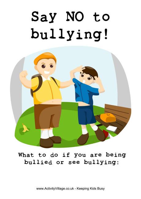Say no to poster. Bullying clipart bullying kid