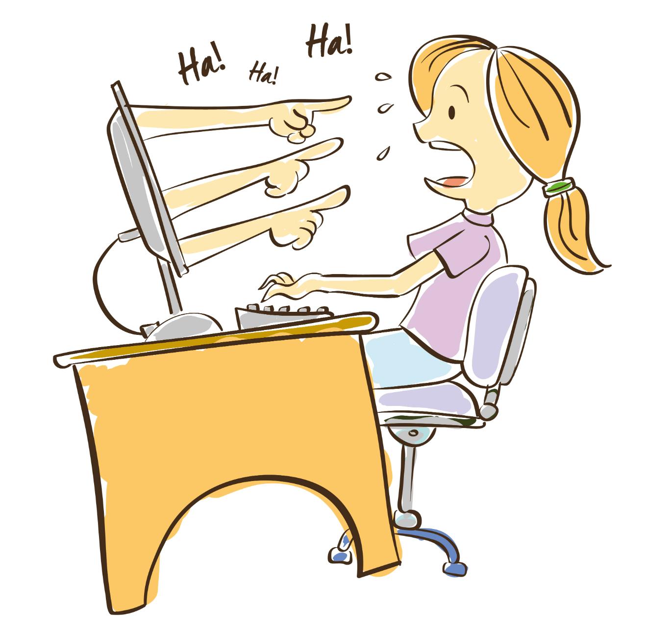 Bullying clipart computer. Pin on social media