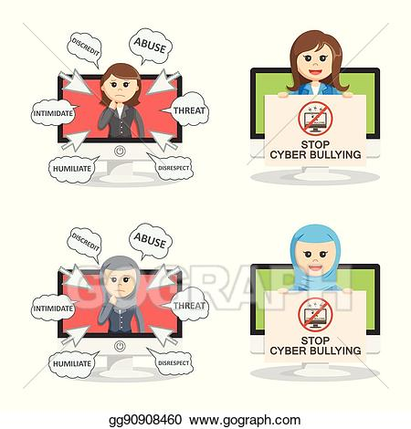 Bullying clipart icon. Vector art businesswoman cyber