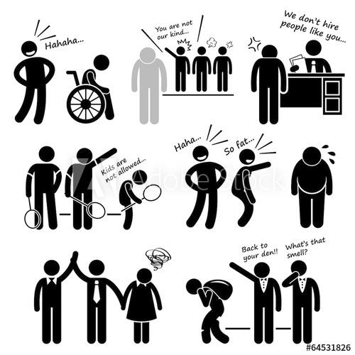 Bullying clipart prejudicial. Discrimination racist prejudice biased