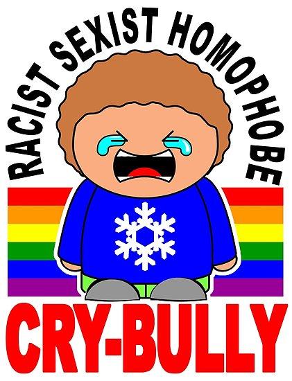 Cry bully sexist homophobe. Bullying clipart racist
