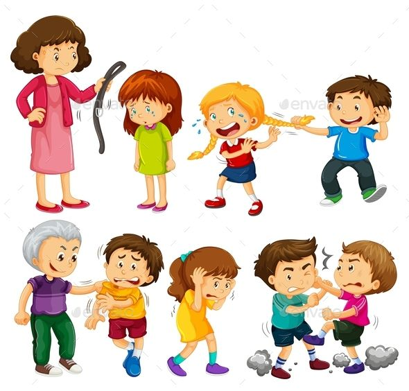 Angry people fighting and. Bullying clipart scene