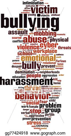 Bullying clipart word. Eps illustration cloud vector