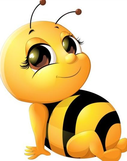 Lovely bee set vectors. Bumblebee clipart cartoon