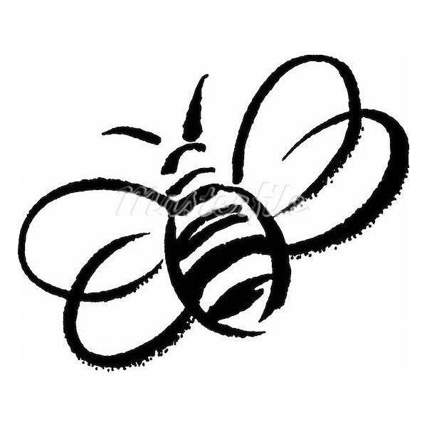 Bumblebee clipart outline. A black and white