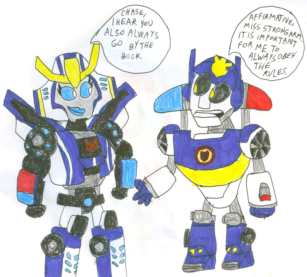 Strongarm meets chase by. Bumblebee clipart rescue bot