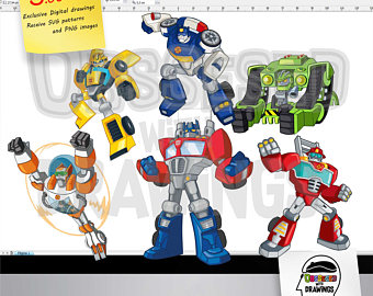 Bumblebee clipart rescue bot. Bots etsy transformers png