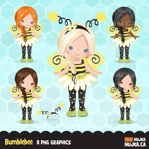 Bumblebee clipart summer. Girls cute birthday characters