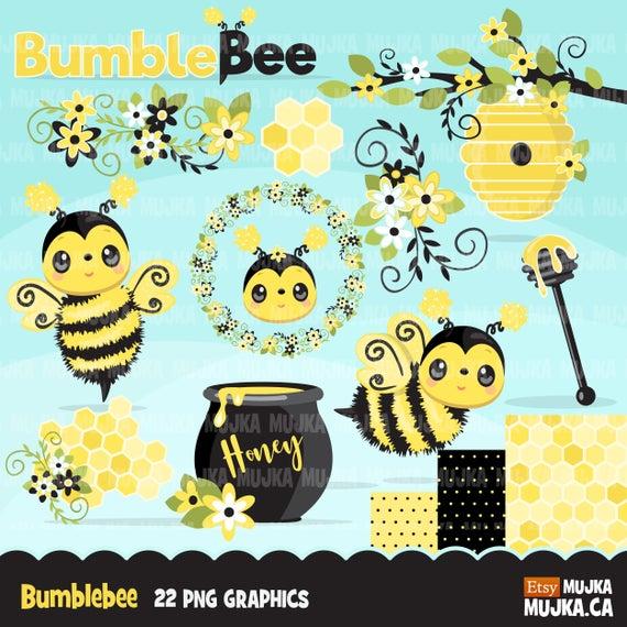 Bumblebee clipart summer. Cute florals beehive honey