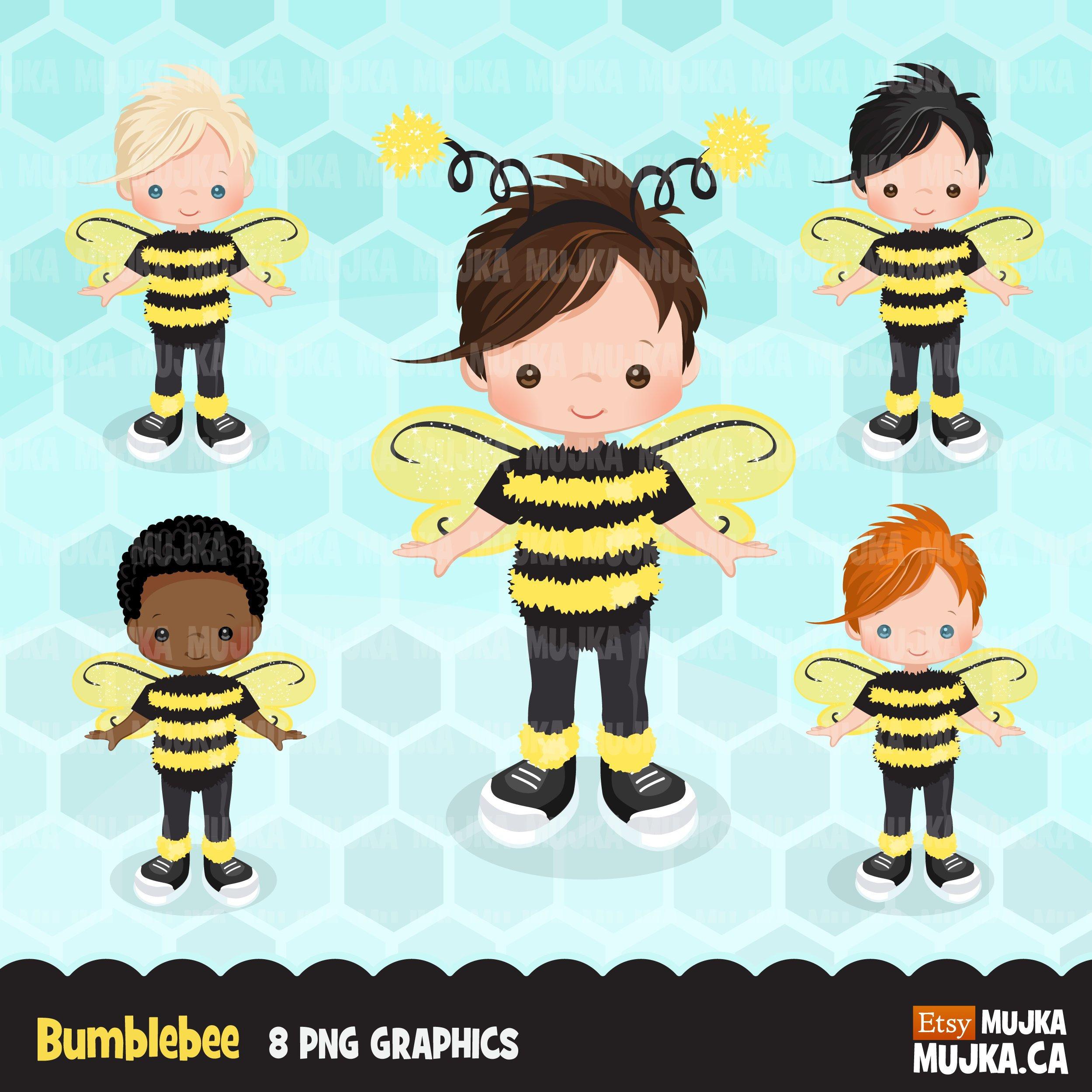 Boys cute birthday characters. Bumblebee clipart summer
