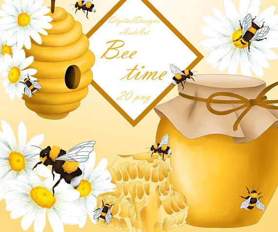 Bee watercolor honey . Bumblebee clipart sunflower