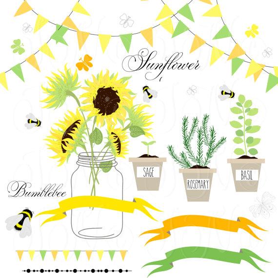 Bumblebee clipart sunflower. Sunflowers mason jarsdigital papers