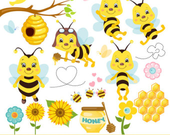 Bees clip art etsy. Bumblebee clipart sunflower