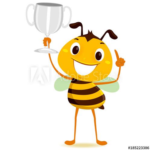Bumblebee clipart trophy. Vector illustration of bee