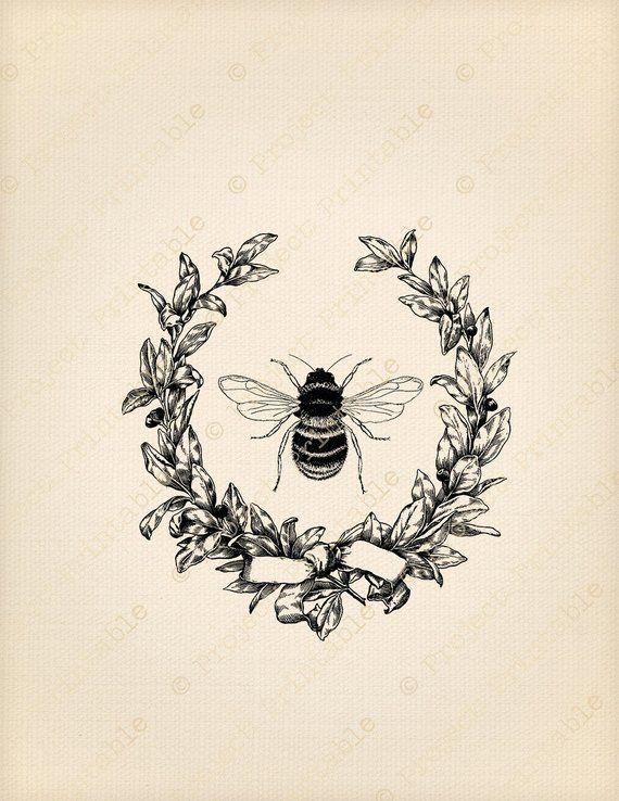 Instant download printable graphics. Bumblebee clipart vintage