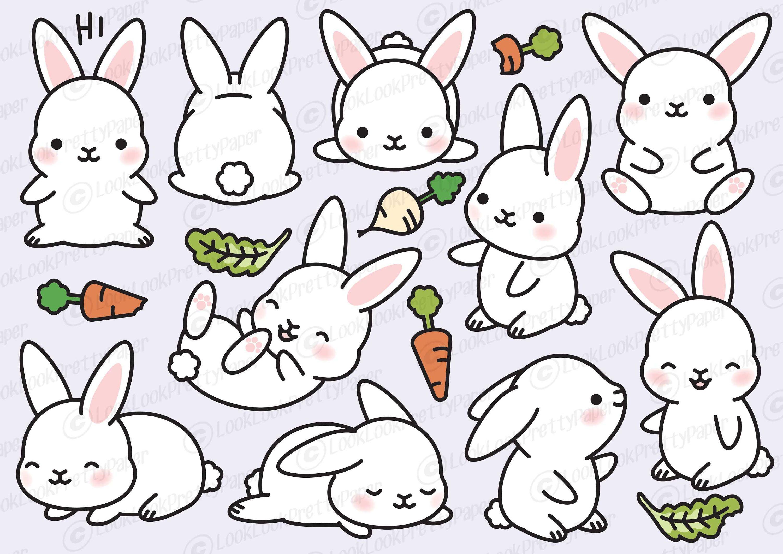Premium vector cute . Bunny clipart kawaii