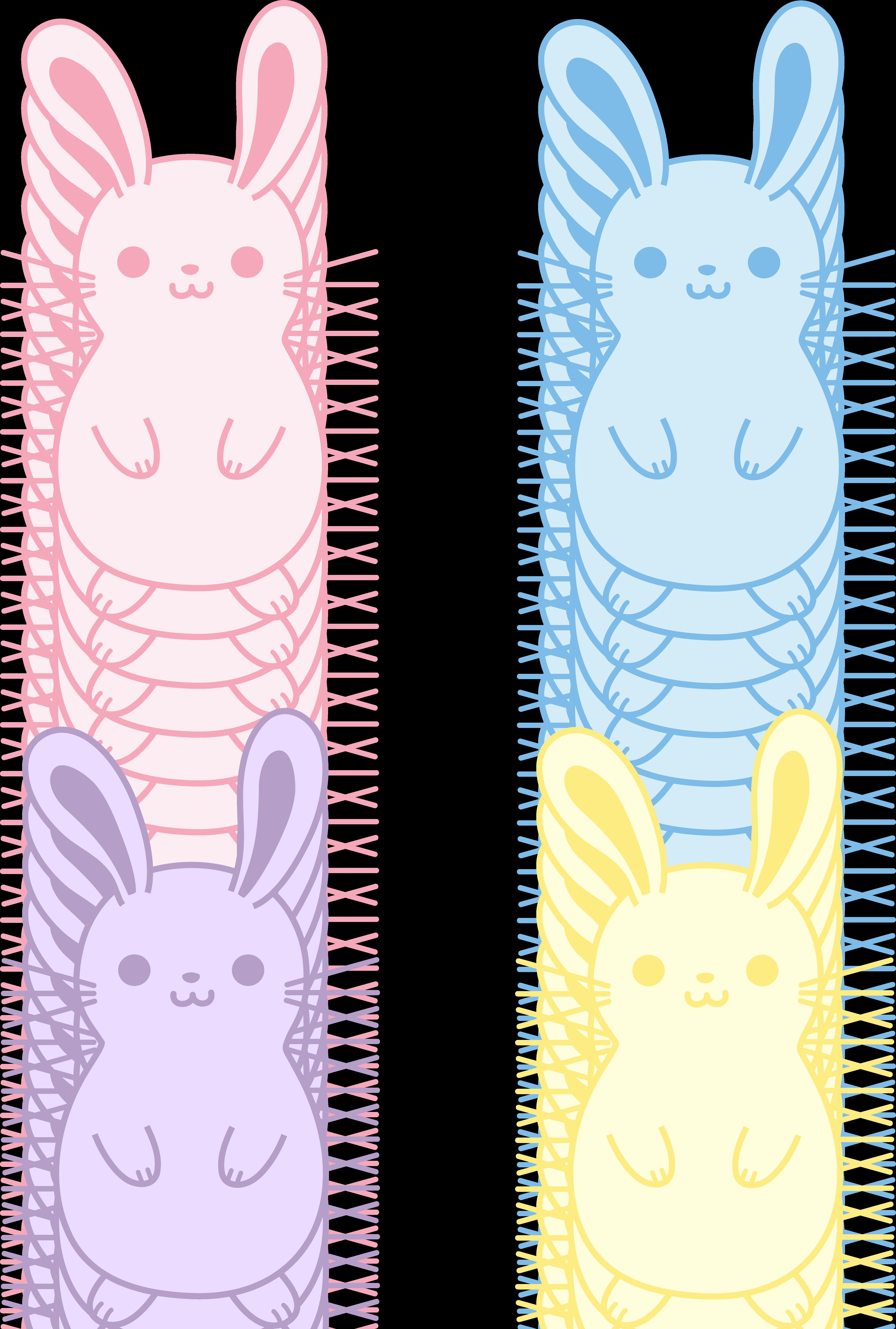 Clipart bunny boho. Set of four cute
