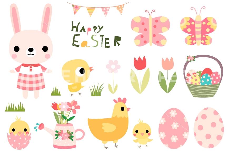 Cute easter set bunny. Bunnies clipart banner