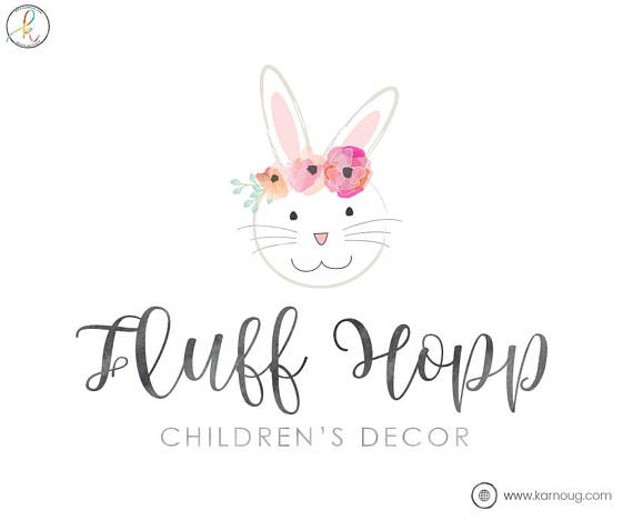 Boho clipart bunny. Logo floral chic boutique