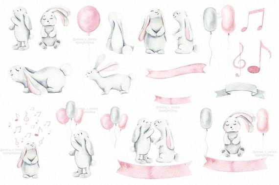 Bunny clipart boho. Spring easter pastel animal