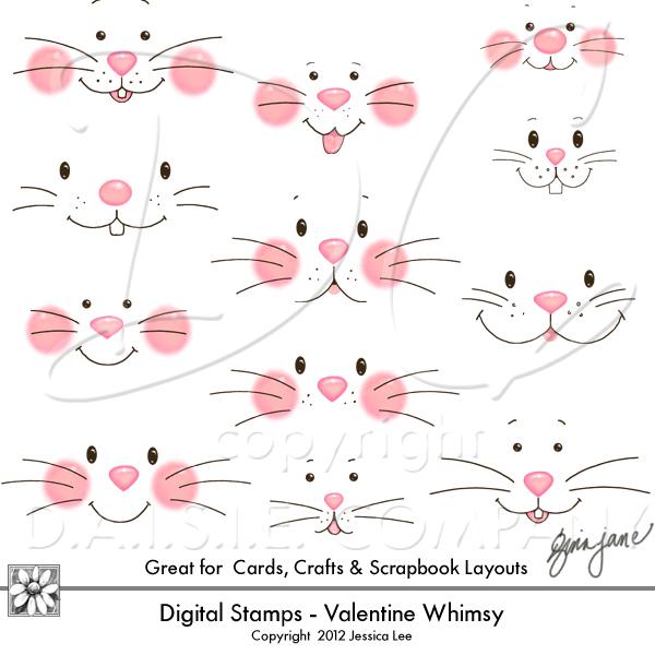 Daisie company digital art. Bunnies clipart face