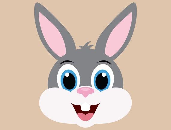Bunny clipart head. Cute rabbit svg cut