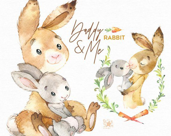 Bunny clipart family. Daddy me rabbit watercolor