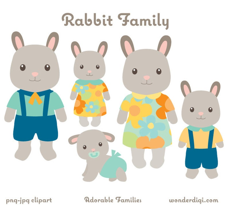 Animal rabbit clip art. Bunny clipart family