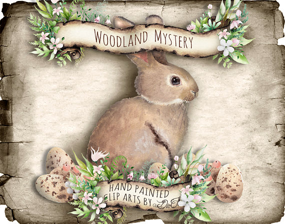 Bunny clipart forest. Woodland rabbit greenery easter