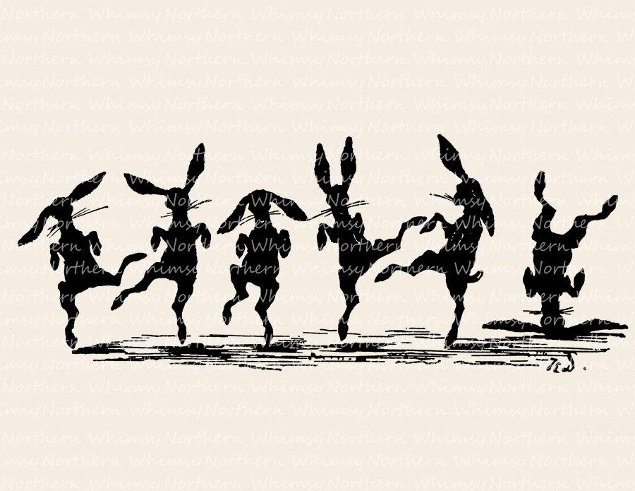 Bunnies vintage easter clip. Bunny clipart dancing