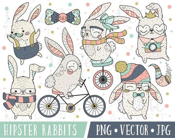 Bunnies clipart hipster. Kawaii bunny images cute