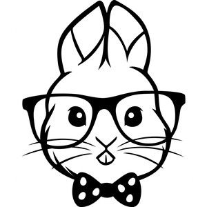 Easter bunny silhouette design. Bunnies clipart hipster
