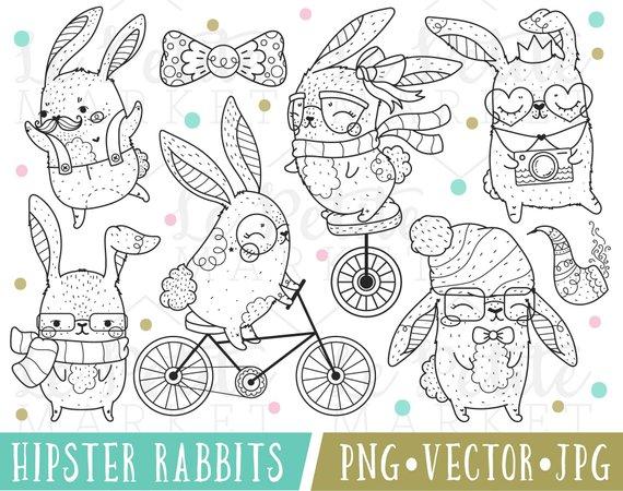 Bunnies clipart hipster. Cute rabbit animal kawaii