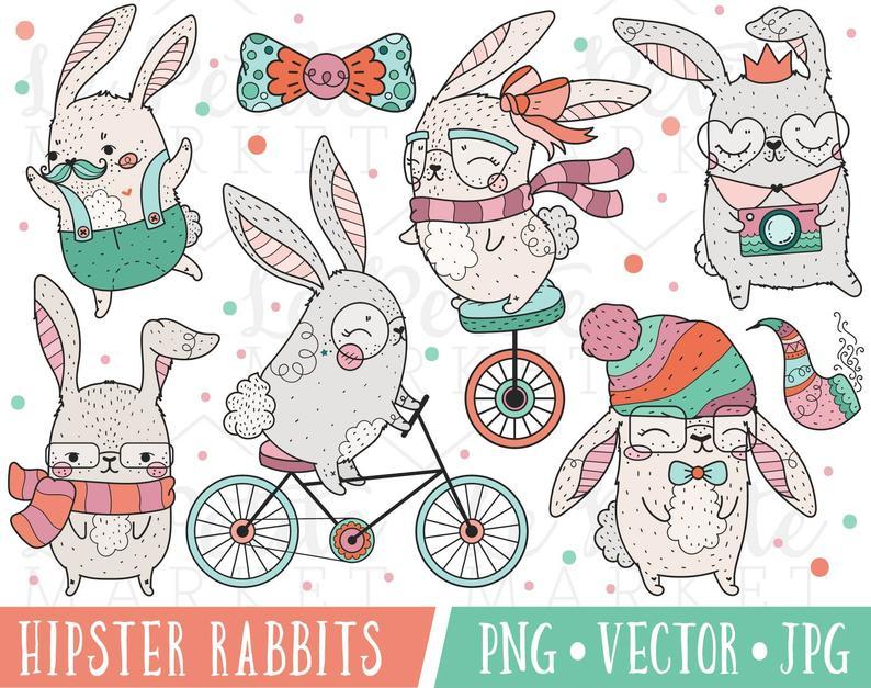Cute rabbit kawaii easter. Clipart bunny hipster