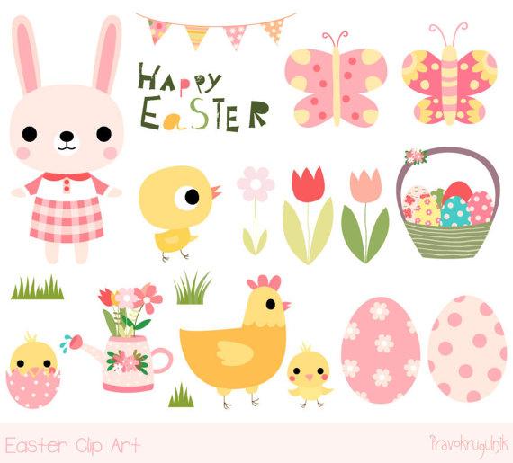 Bunny clipart kawaii. Cute easter happy clip