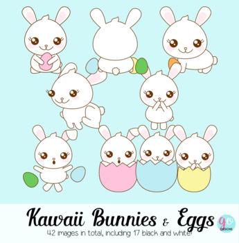 Easter bunnies in eggs. Bunny clipart kawaii