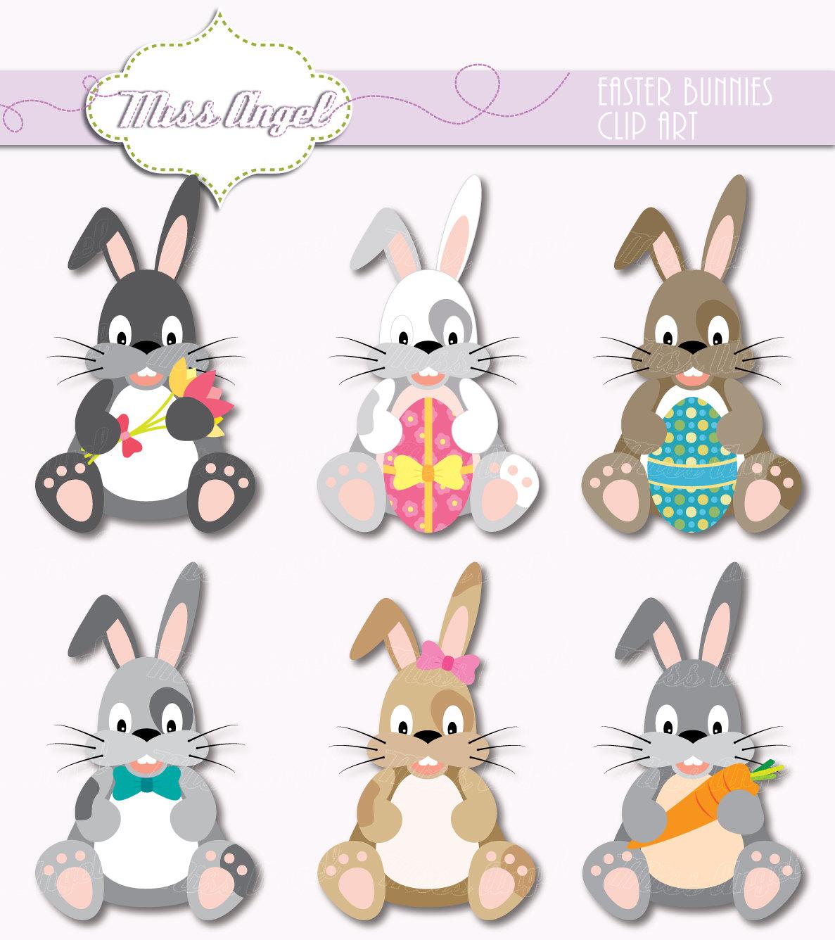 Easter bunnies grey rabbit. Bunny clipart printable