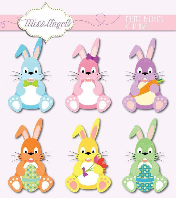 Sweet easter bunnies clip. Bunny clipart shabby chic
