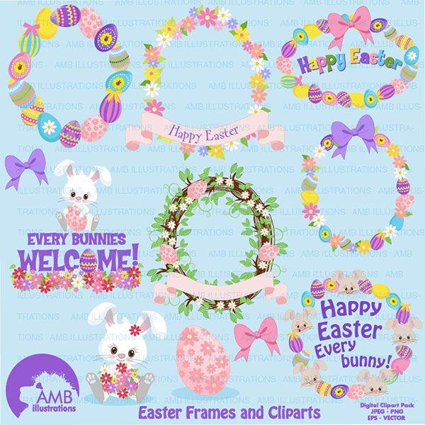 Bunny clipart shabby chic. Easter frames decoupage pinterest