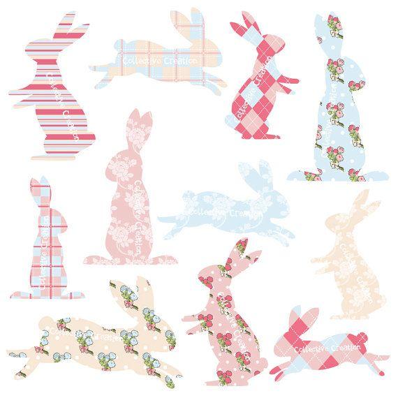 Rabbit silhouette patterns pinterest. Bunny clipart shabby chic