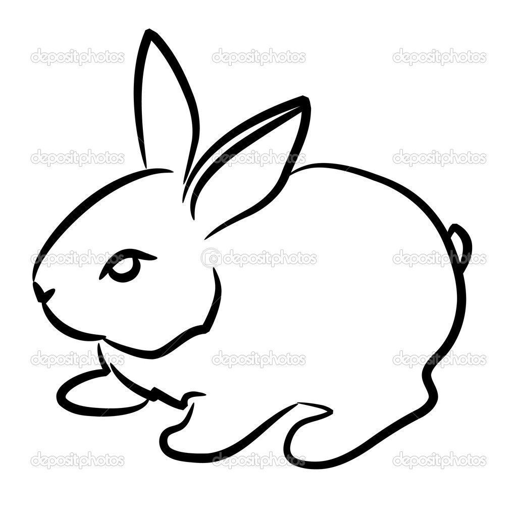 Bunny clipart simple. Easy detsiled rsbbut drawing