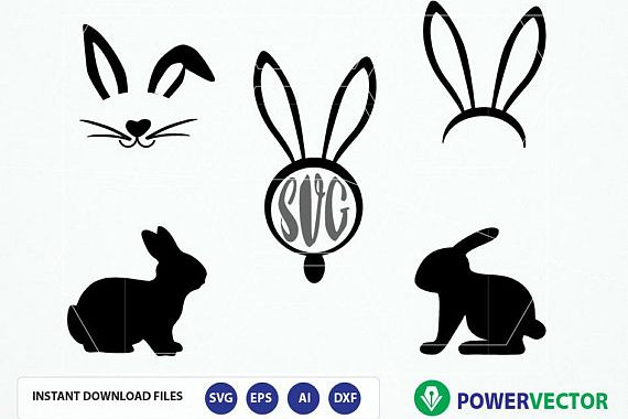 Svg files easter design. Bunny clipart vector
